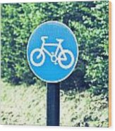 Bicyle Route Wood Print