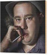 Big Mob Boss Smoking Cigarette Dark Background Wood Print
