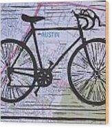 Bike 8 On Map Wood Print