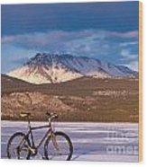 Bike On Frozen Lake Laberge Yukon Canada Wood Print