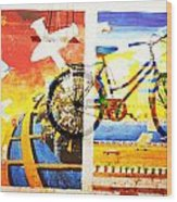 Biking In Bejing Wood Print