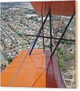 Biplane Over San Diego Wood Print