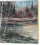 Birch Lake Wood Print