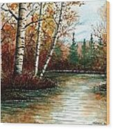Birch Pond Wood Print