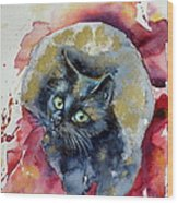 Black Cat In Gold Wood Print