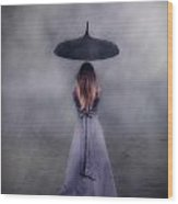 Black Umbrella Wood Print by Joana Kruse