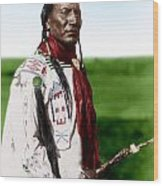 Blackfoot Man With Braided Sweet Grass Ropes Wood Print