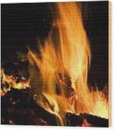Blazing Campfire Wood Print