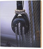 Block And Tackle Wood Print by Barry Shaffer