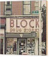 Block Drug Store Wood Print