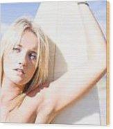 Blond Sports Girl Holding Surfboard Wood Print