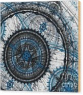 Blue Clockwork Wood Print
