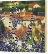 Blue Flowers And Rooftops In Sarlat Wood Print