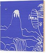 Blue Geisha Wood Print
