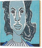 Blue Girl Wood Print