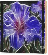 Blue Hibiscus Fractal Wood Print