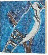 Blue Jay Oil Painting Wood Print by William Sahir House