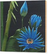 Blue Lotus Wood Print