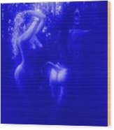 Blue Night With Wood Nymphs Wood Print