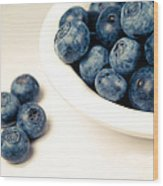 Blue On White Wood Print