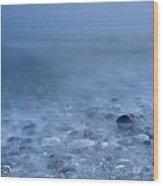Blue Sea At Sunset Wood Print