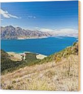 Blue Surface Of Lake Hawea In Central Otago In New Zealand Wood Print