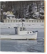 Boat And Ice Hobart Beach Ny Wood Print