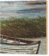 Boat On Shore Wood Print