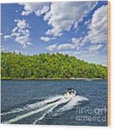 Boating On Lake Wood Print by Elena Elisseeva