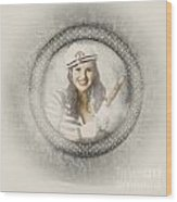 Boating Pin-up Woman On Nautical Shipping Voyage Wood Print