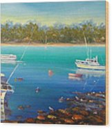 Boats At Merimbula Australia  Wood Print