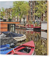 Boats On Canal In Amsterdam Wood Print