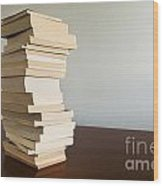 Book Stack On Table Wood Print