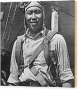 Boston Airport Chinese Aviator Wood Print