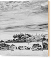 Boulders On The Beach Wood Print