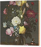 Bouquet Of Flowers In A Glass Vase Wood Print