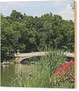 Bow Bridge Over The Lake Wood Print