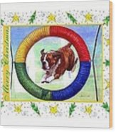 Boxer Dog Christmas Wood Print by Olde Time  Mercantile