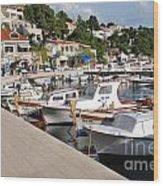 Brela Harbour Croatia Wood Print