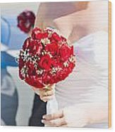 Bride Holding Red Rose Flower Bunch Wood Print
