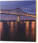 Commmodore Barry Bridge In The Blue Hour Wood Print