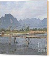 Bridge In Vang Vieng Laos Wood Print