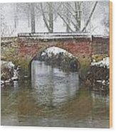 Bridge Over River In A Snowstorm Wood Print