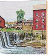 Bridgeton Mill And Covered Bridge Wood Print