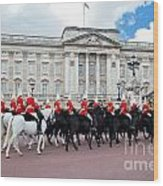 British Royal Guards Perform The Changing Of The Guard In Buckingham Palace Wood Print