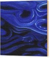 Brush Strokes In Blue Wood Print