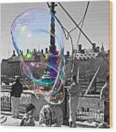 Bubbles Big Ben Wood Print