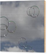 Bubbles In The Clouds Wood Print