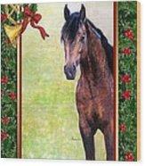 Buckskin Quarter Horse Christmas Card Wood Print