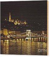 Budapest At Night Wood Print